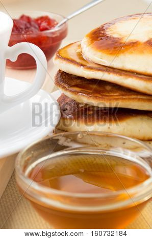 Pancakes With Honey For Breakfast