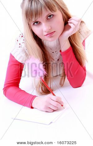 beauty girl write poetry on white