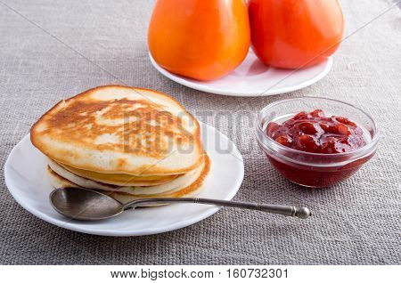 Hot Pancakes, Strawberry Jam And Tomatoes Close-up