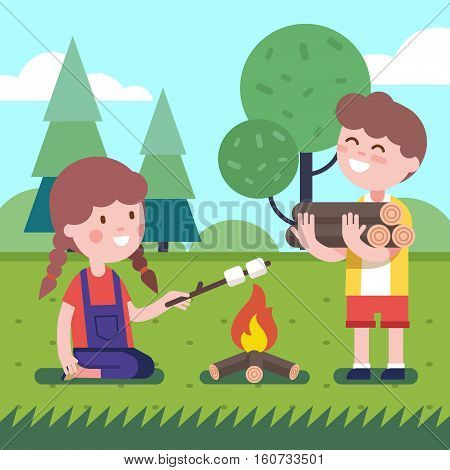 Boy brings some firewood at the bonfire. Girl frying her marshmallows on the wooden stick. Modern flat style illustration. Kids cartoon character clipart.
