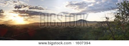 Sunset On The Wild African Savanna, Serengeti Park, Tanzania, Panorama