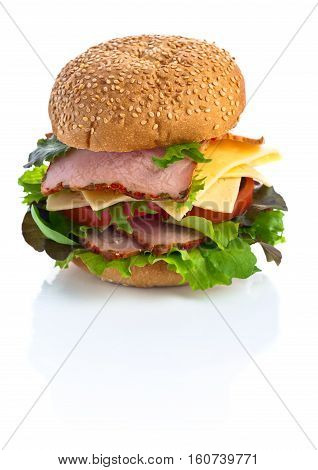 Burger With Salad, Cheese And Ham Isolated On White  Background