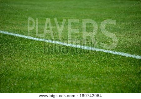 Football background Text players on green grass with white lane