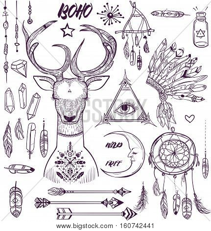 set withvector boho elements. isolated hand drawn
