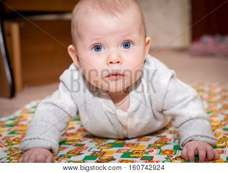 Baby with blue eyes crawling and looking at the camera