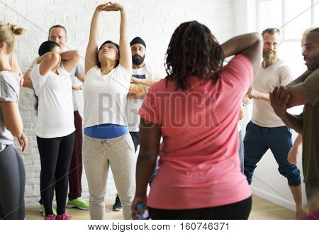 Diversity People Exercise Class Relax Concept