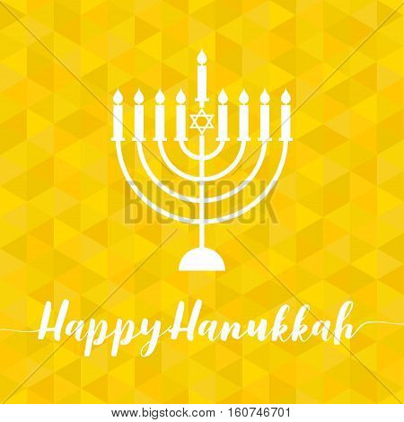 Happy Hanukah calligraphic with menorah, silhouette design vector with geometric yellow triangle background