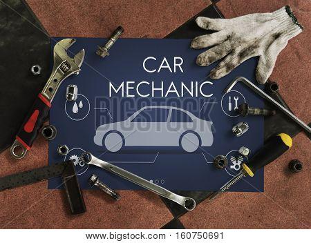 Automobile Vehicle Car Mechanic Maintenance Concept