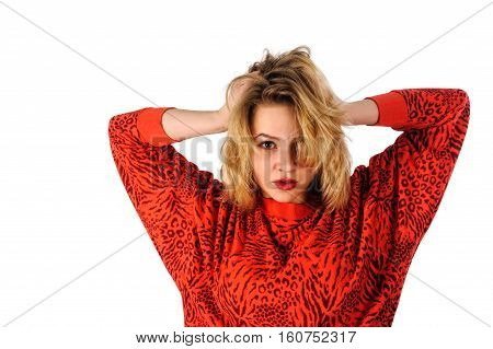 Upset lonely woman looking down in disappointment. The concept of divorce, misunderstanding, loneliness. photo on the white background