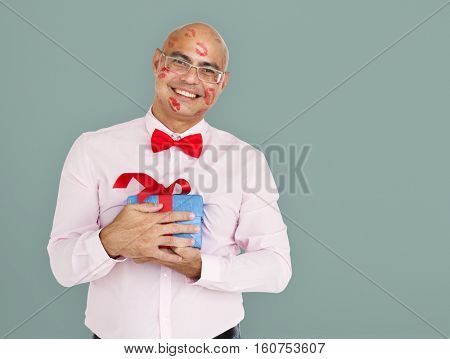 Male Standing Holding Present Concept