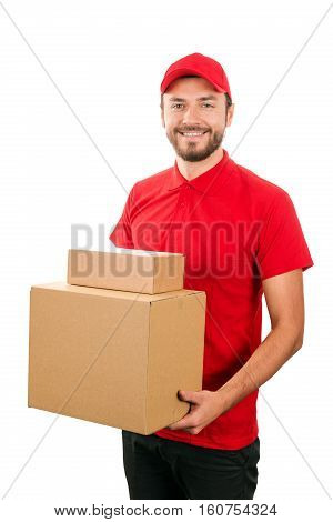 delivery service - young courier holding cardboard box