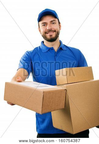 delivery service courier giving cardboard shipping box