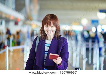 Beautiful Young Passenger At Check-in Counter