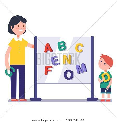Kid learning abc in kindergarten with teacher or tutor. Home learning with mom. Modern flat style color modern vector illustration.