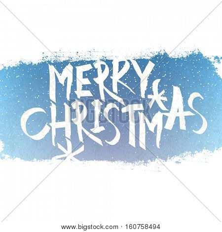 Merry Christmas Lettering with blue sky and snowflakes. Center composition, isolated on white