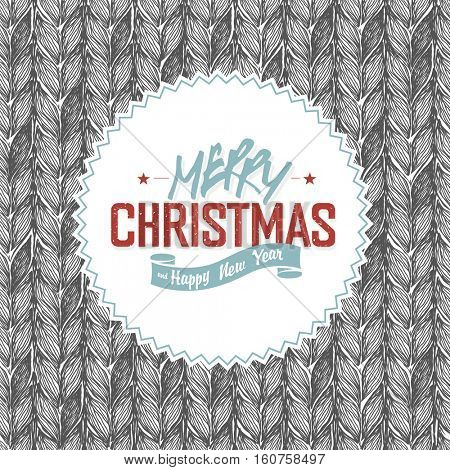 Merry Christmas Label on Knitted Pattern