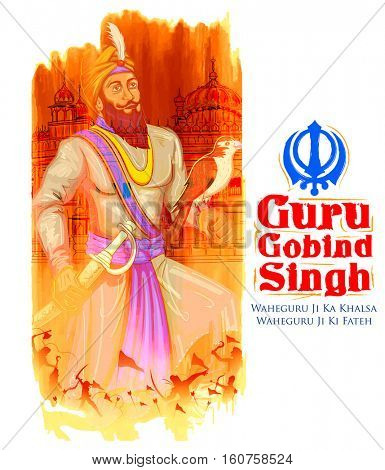 Happy Guru Gobind Singh Jayanti festival for Sikh celebration background with Punjabi text Waheguru ji ka khalsa Waheguruji ki fateh meaning Wonderful Lord's Khalsa, Victory is to the Wonderful Lord