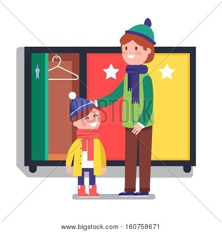 Father helping his boy son kid to dress near the kindergarten corridor locker. Modern flat style vector illustration cartoon clipart.