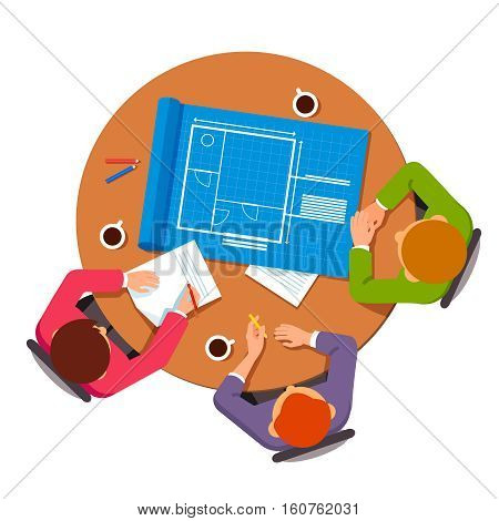 Group of architects discussing building plans. People talking about house design technical blueprints. Flat style vector illustration.
