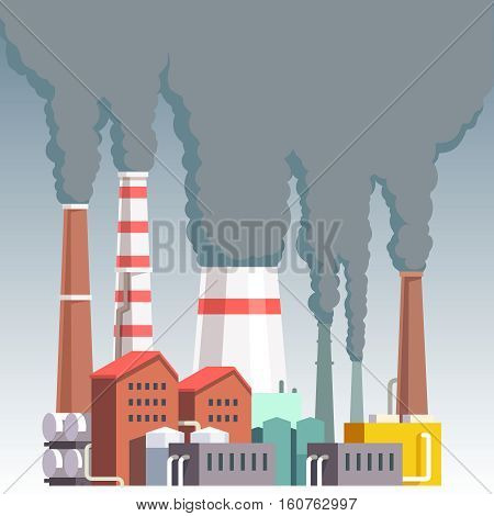 Highly polluting factory plant with smoking towers and pipes. Carbon dioxide emissions. Environment contamination. Flat style vector illustration.