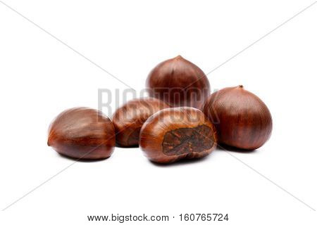 Fresh hot Chestnuts isolated on white background