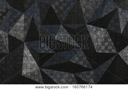 Metallic pattern texture abstract geometric triangular background. 3D rendering