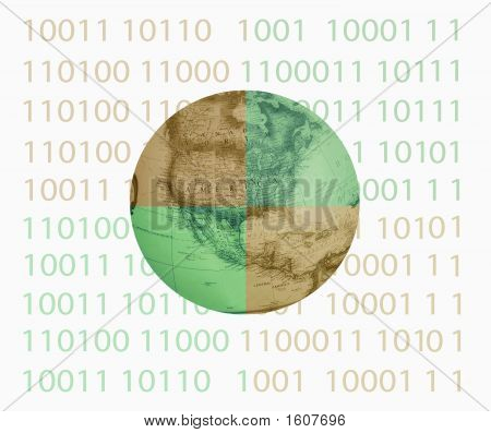 Binary With Globe In Center Divided Colors #2