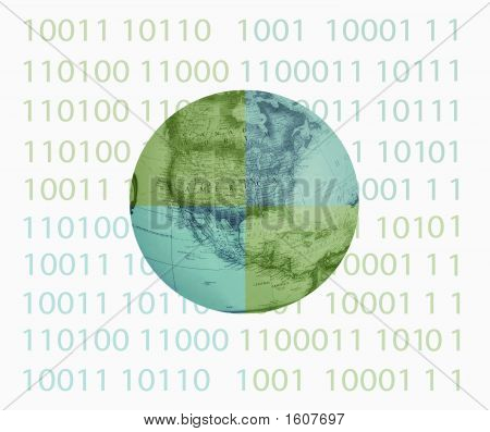 Binary With Globe In Center Divided Colors #1