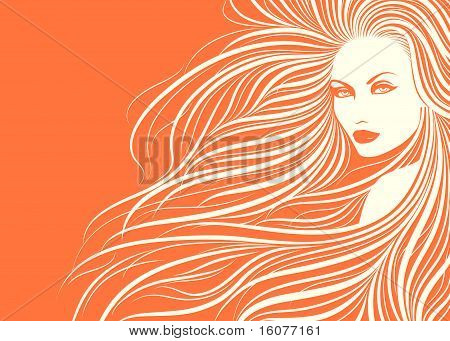 Elegante. Long haired girl. Beautiful Vector Illustration.