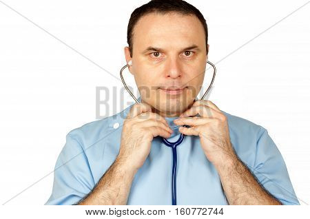 Young man doctor putting his stethoscope, isolated