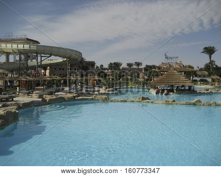 HURGHADA EGYPT - DECEMBER 6 2007: Hotel PickAlbatros in Hurghada is a popular tourist destination especially in the winter of northern countries