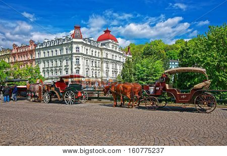 Horse Carriage In Karlovy Vary Czech Republic