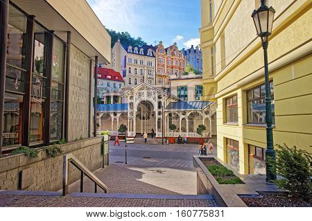 People Near Market Colonnade Of Karlovy Vary Czech Republic