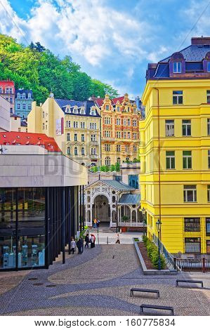 People Near Market Colonnade Of Karlovy Vary