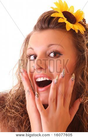 Happy woman with sunflower in hair isolated on white
