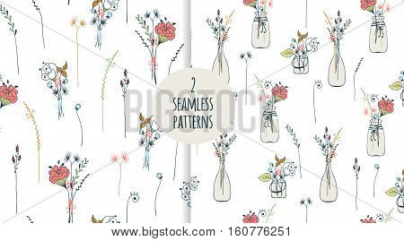 Two seamless pattern with thin long flowers. Trendy seamless foral background in vector. (under clipping mask)