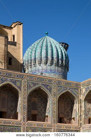 Dome and gallery on the second floor of Madrasah Sher-Dor courtyard. Samarkand Uzbekistan
