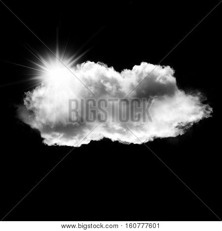 White cloud with a sun behind it isolated over black background 3D rendering illustration design elements
