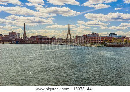 Skyline Of Boston And Zakim Bridge In The Distance