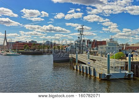 Uss Cassin Young Ship Moored At Pier In Boston