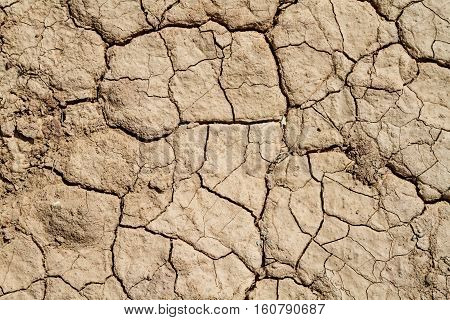 Soil background dry chapped earth cracks in the dried ground in Negev desert Israel