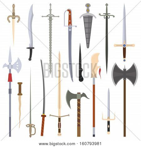 Knifes iron weapon collection. Vector swords, knifes, axe, spear. Edged iron weapons set. Combat metal blade and iron bonder bayonet swat cold steel arms.