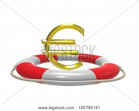 Euro with lifebuoy 3D rendering isolated on white