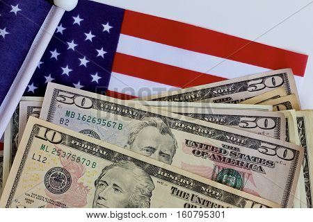 An American flag together with American money.