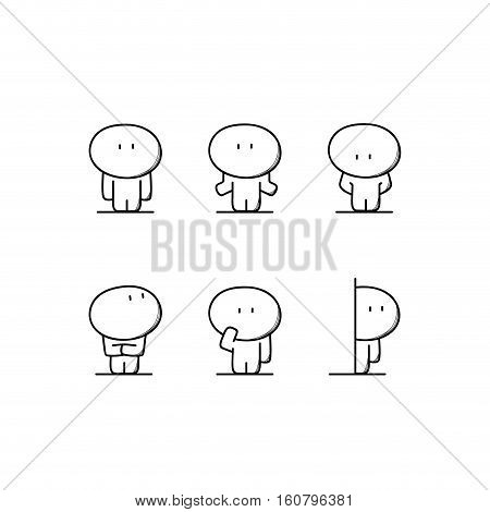 Cute funny man and calm, doubt, shame, offence, surprise and curiosity. Different emotions and situation - cartoon vector illustration.