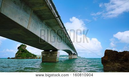 View from under The Kouri Bridge one of the very long bridge in Okinawa Japan