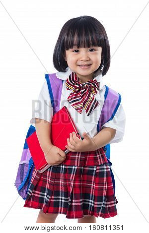 Asian Chinese Little Student Girl With School Bag And Books