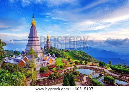 Landmark Pagoda In Doi Inthanon National Park At Chiang Mai, Thailand.