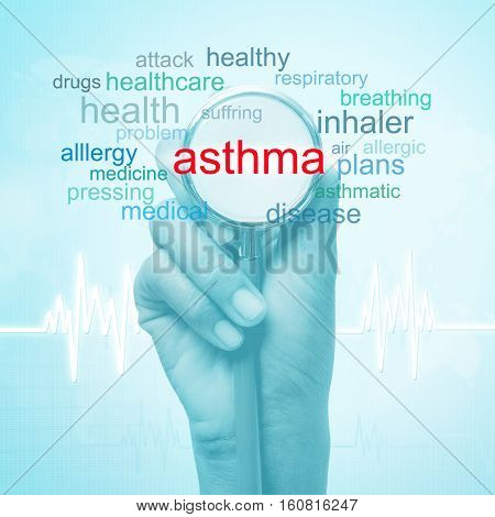 hand holding stethoscope with asthma word. medical concept