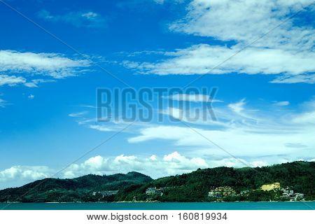 phuket patong beach and sea blue sky view